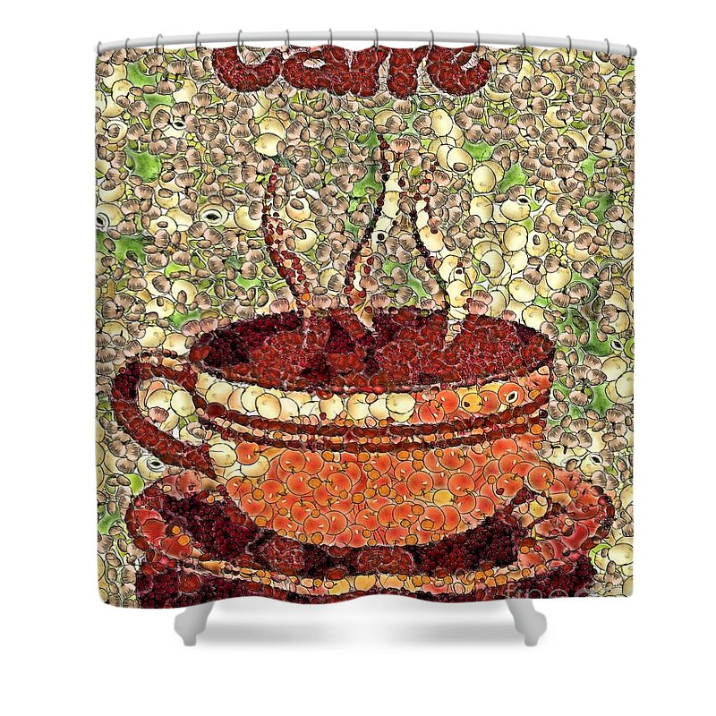 Caffe Shower Curtain featuring the painting Caffe by Dragica Micki Fortuna