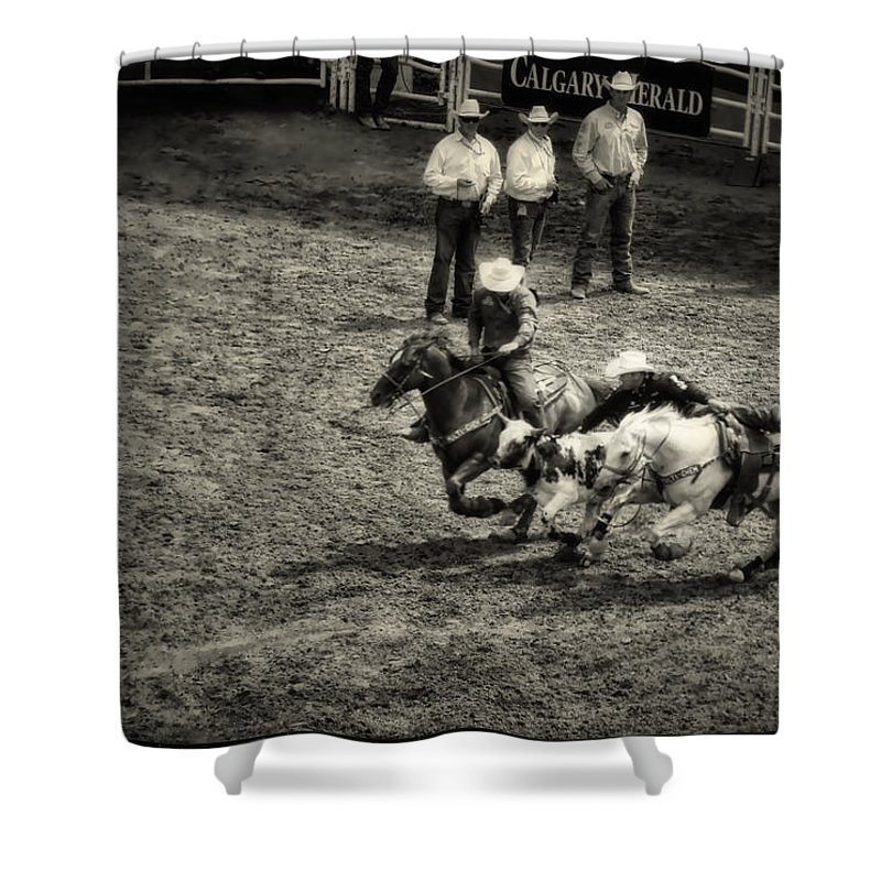 Calgary Stampede Shower Curtain featuring the digital art Calgary Stampede Black And White by Diane Dugas