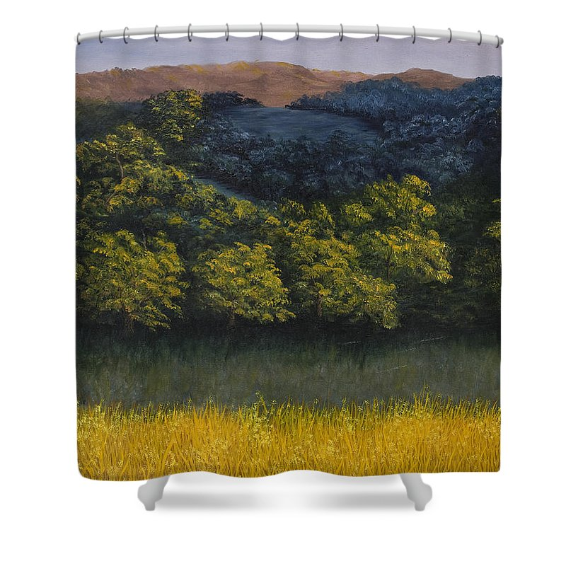 Landscape Shower Curtain featuring the painting California Foothills by Darice Machel McGuire