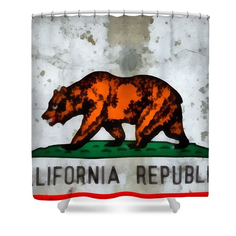 California State Flag Weathered And Worn Shower Curtain featuring the painting California State Flag Weathered And Worn by Dan Sproul