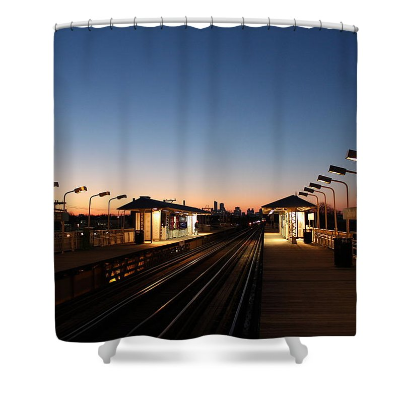 Train Stations Shower Curtain featuring the photograph California Train Station Landscape by Abby D Santiago