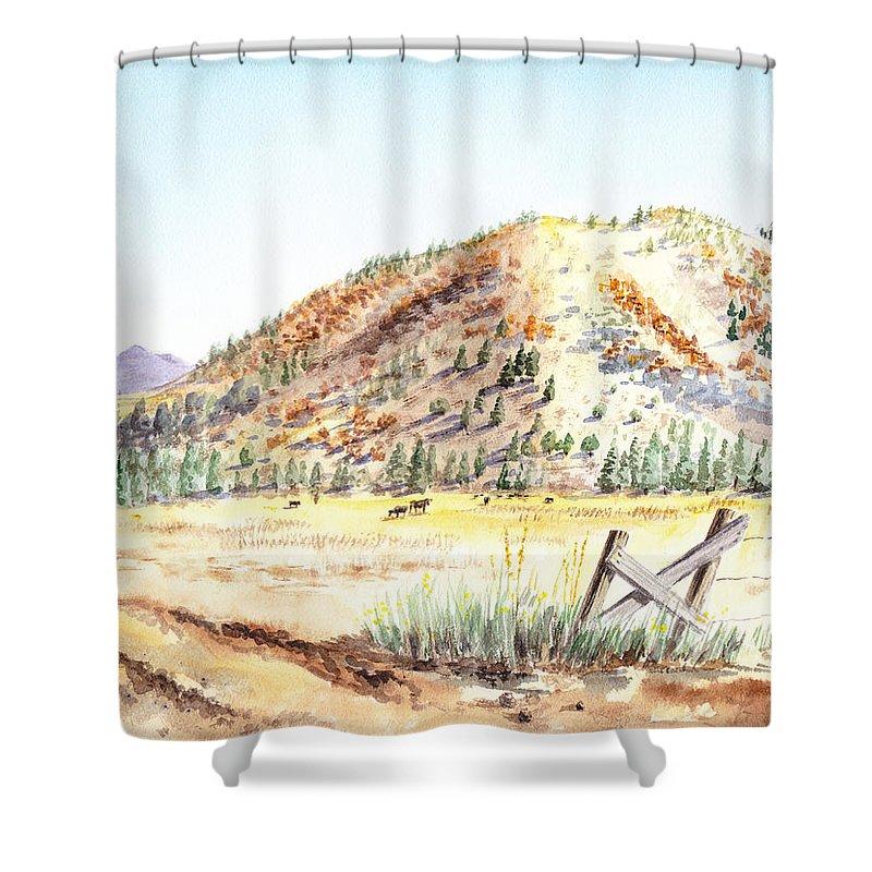 Mountain Shower Curtain featuring the painting Californian Landscape Saint John Ranch Bald Mountain View Shasta County by Irina Sztukowski