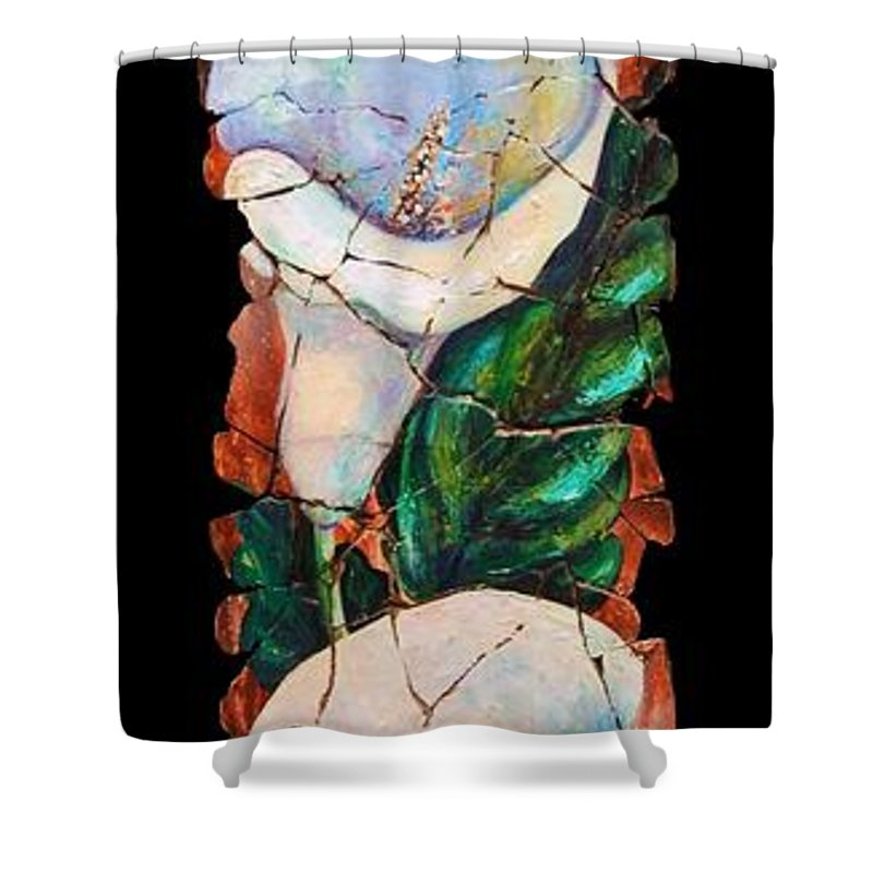 Fresco Antique Painting Flower Shower Curtain featuring the painting Calla Fresco by OLena Art Lena Owens