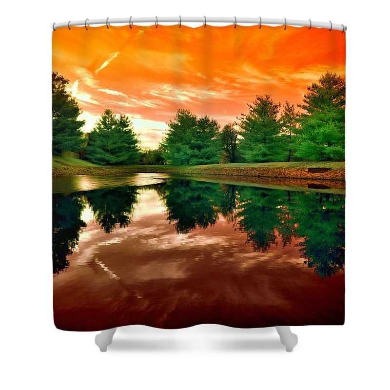Infrared Picture Shower Curtain featuring the photograph Calm On The Pond by Igor Aleynikov