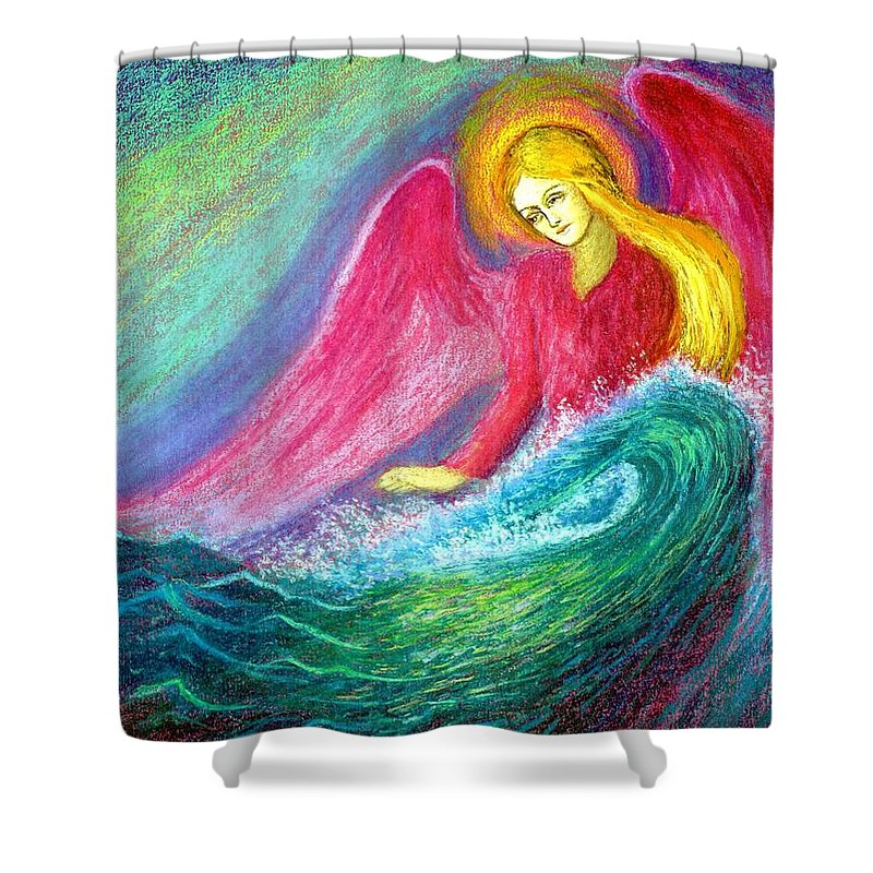 Love Shower Curtain featuring the painting Calming Angel by Jane Small