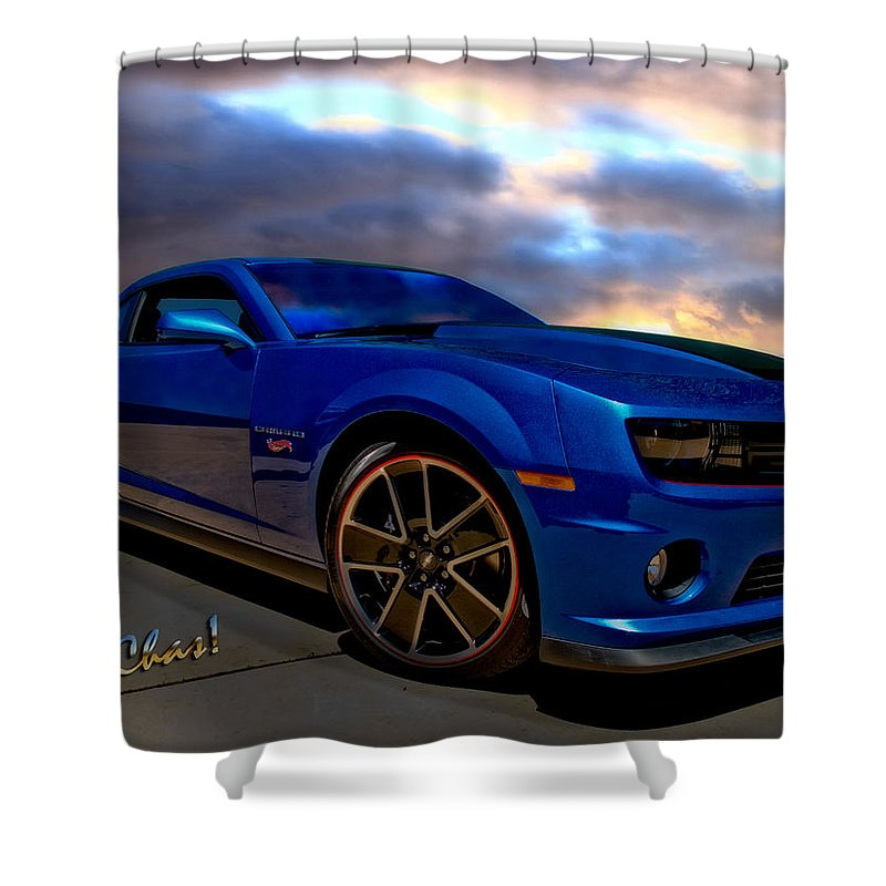 2013 Camaro Automotive Art Shower Curtain featuring the photograph Camaro Hot Wheels Edition by Chas Sinklier