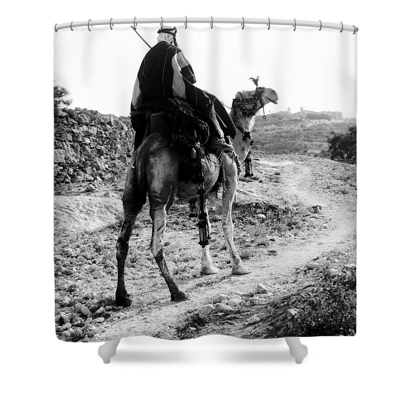 Camel Shower Curtain featuring the photograph Camel Rider by Munir Alawi