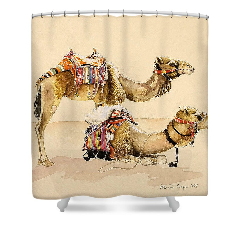 Camel Shower Curtain Featuring The Painting Camels From Petra By Alison Cooper