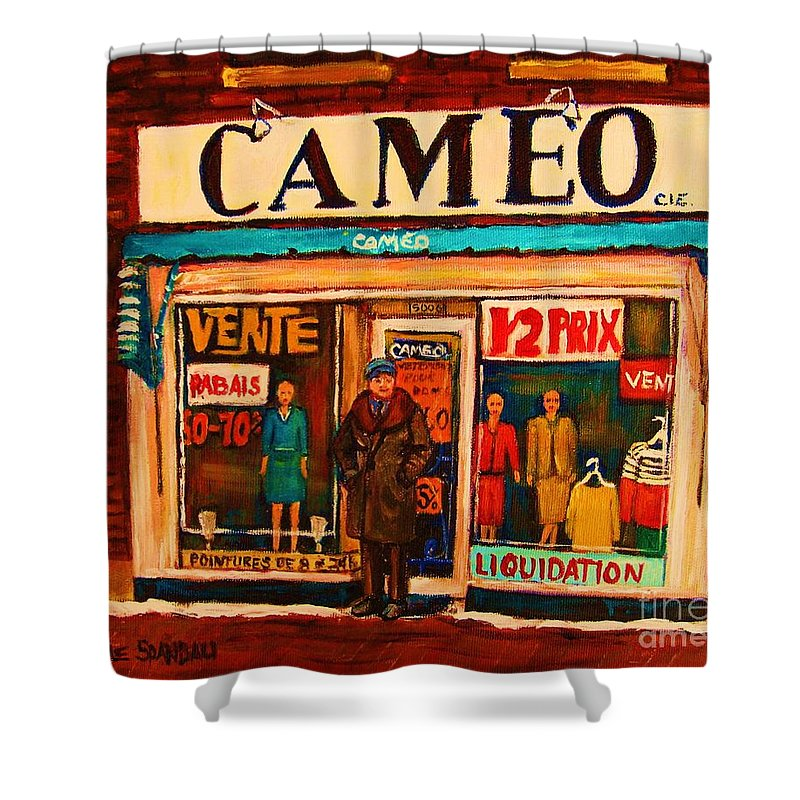 Cameo Dress Shop Shower Curtain featuring the painting Cameo Dress Shop by Carole Spandau
