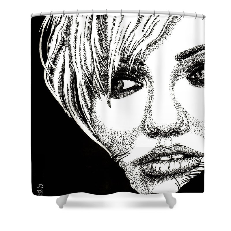 Cameron Diaz Shower Curtain featuring the drawing Cameron Diaz by Cory Still