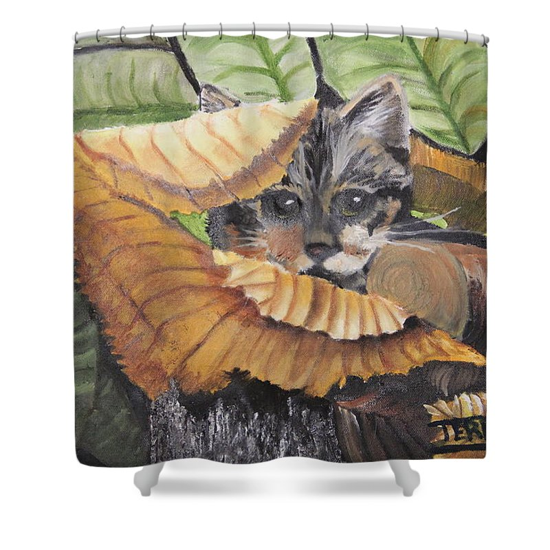 Cat Shower Curtain featuring the painting Camo Cat by Terry Lewey