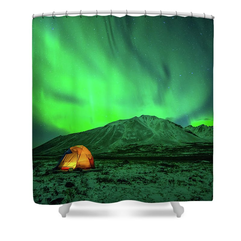 Camping Shower Curtain featuring the photograph Camping Under Northern Lights by Piriya Photography