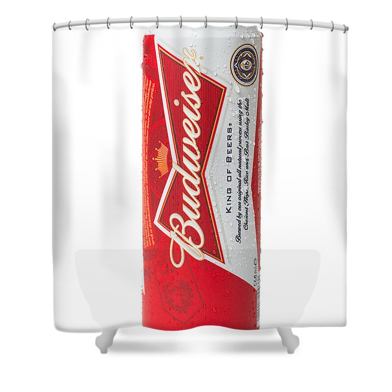 Budweiser Shower Curtain Featuring The Photograph Can Of Beer By Amanda Elwell