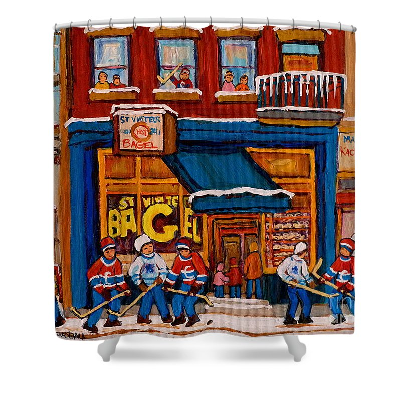 Canadian Art Specialist Shower Curtain featuring the painting Canadian Artists Paint Hockey And Montreal Streetscenes Over 500 Prints Available by Carole Spandau