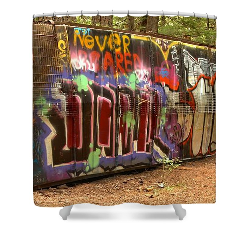 Canada Pacific Shower Curtain featuring the photograph Canadian Pacific Train Wreck Graffiti by Adam Jewell