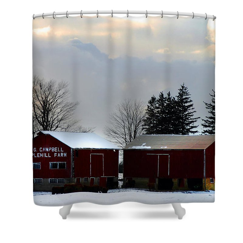 Canada Shower Curtain featuring the photograph Canadian Snowy Farm by Anthony Jones