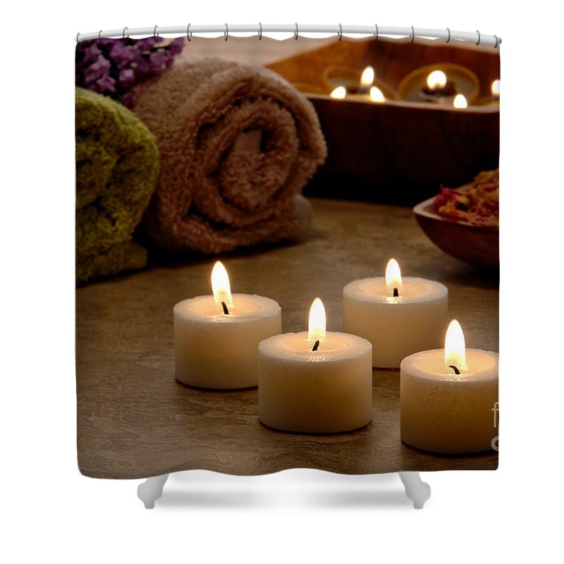 Spa Shower Curtain featuring the photograph Candles In A Spa by Olivier Le Queinec