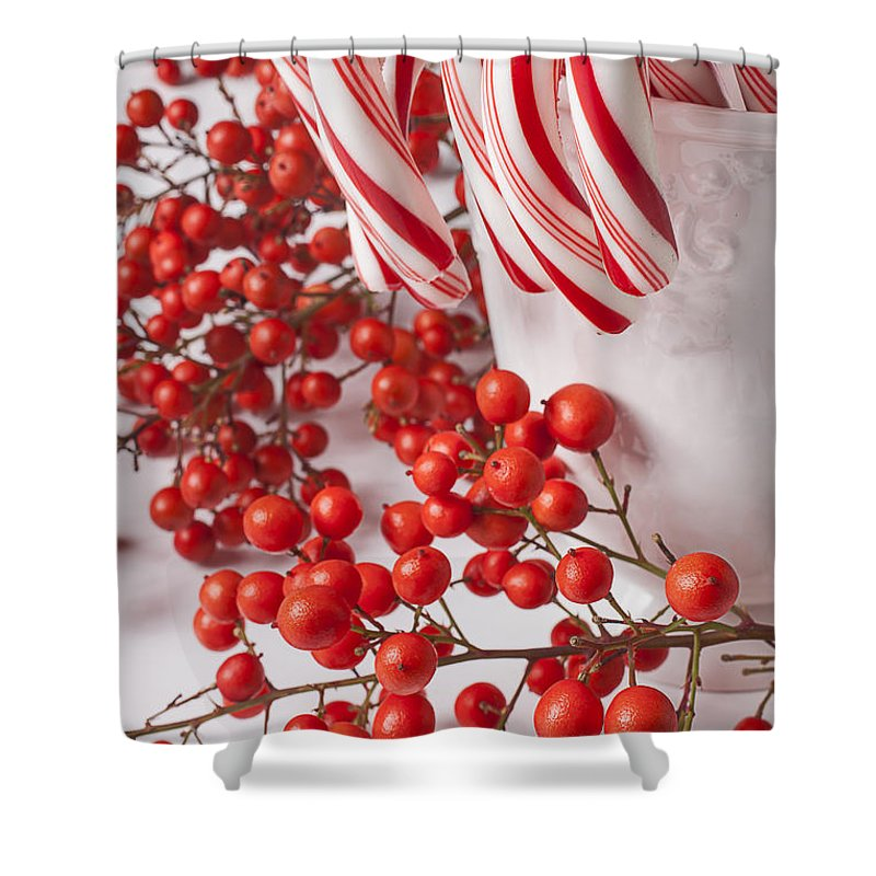 25th Shower Curtain Featuring The Photograph Candy Canes And Red Berries By Garry Gay