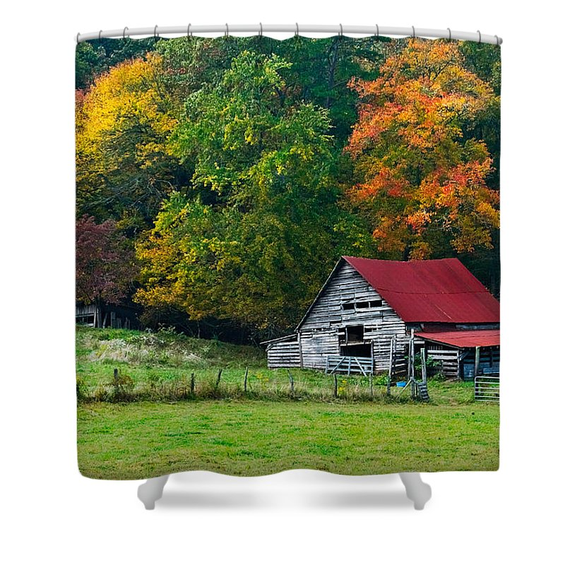 Appalachia Shower Curtain featuring the photograph Candy Mountain by Debra and Dave Vanderlaan
