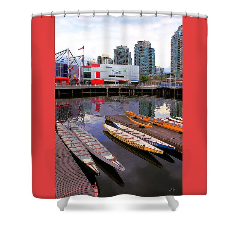 Nautical Shower Curtain featuring the photograph Canoe Club And Telus World Of Science In Vancouver by Ben and Raisa Gertsberg