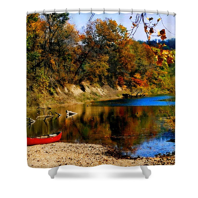 Autumn Shower Curtain featuring the photograph Canoe On The Gasconade River by Steve Karol