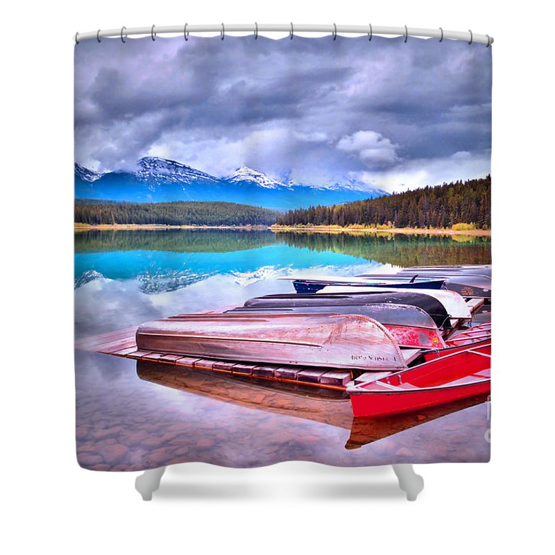 Canoe Shower Curtain featuring the photograph Canoes At Lake Patricia by Tara Turner