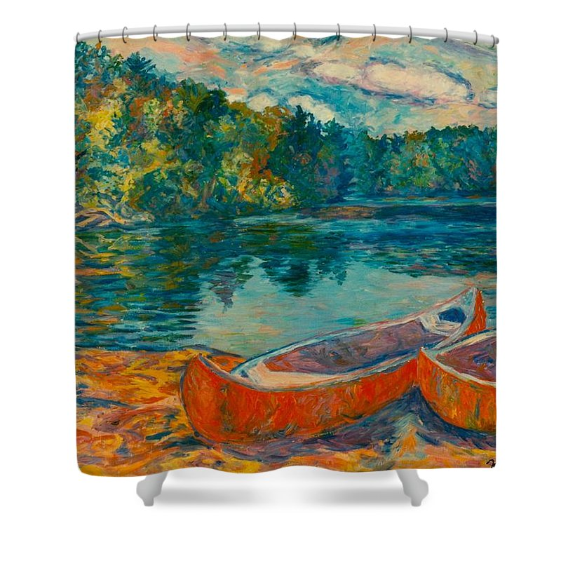 Landscape Shower Curtain featuring the painting Canoes At Mountain Lake by Kendall Kessler