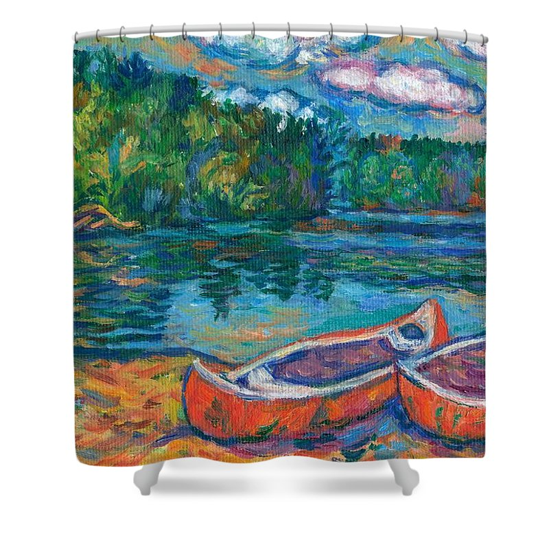 Landscape Shower Curtain featuring the painting Canoes At Mountain Lake Sketch by Kendall Kessler