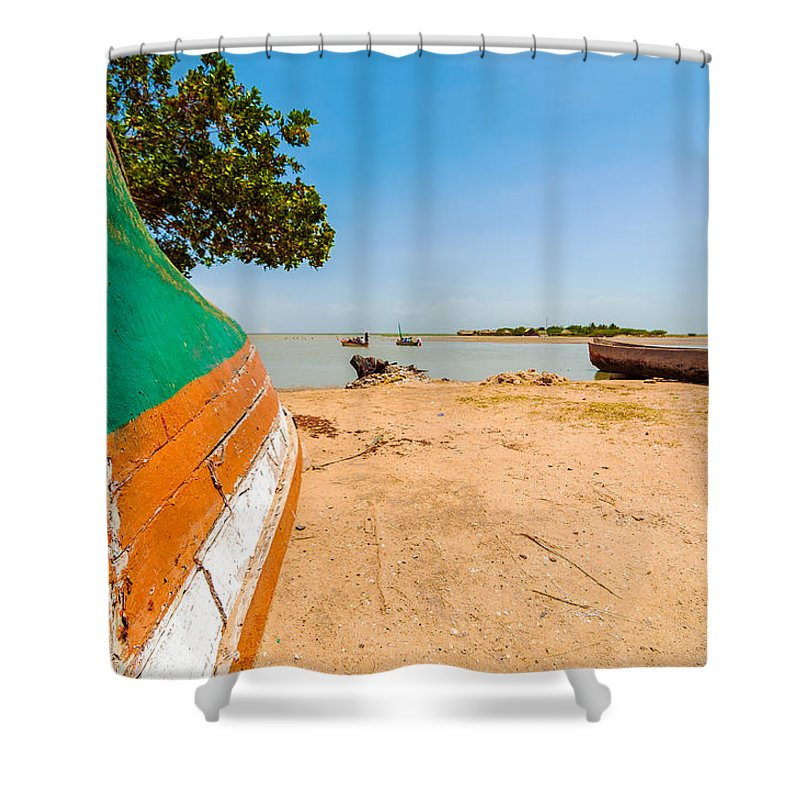 Water Shower Curtain featuring the photograph Canoes On A Lakeshore by Jess Kraft