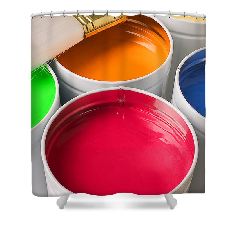 Paint Shower Curtain featuring the photograph Cans Of Colored Paint by Garry Gay