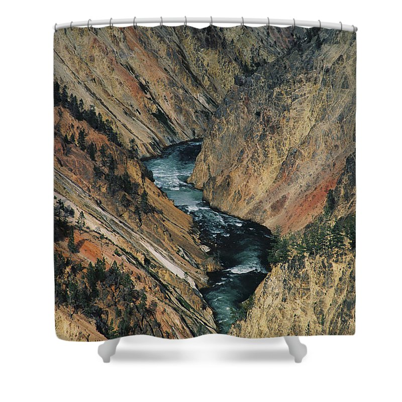 Yellowstone Shower Curtain featuring the photograph Canyon Jewel by Kathy McClure