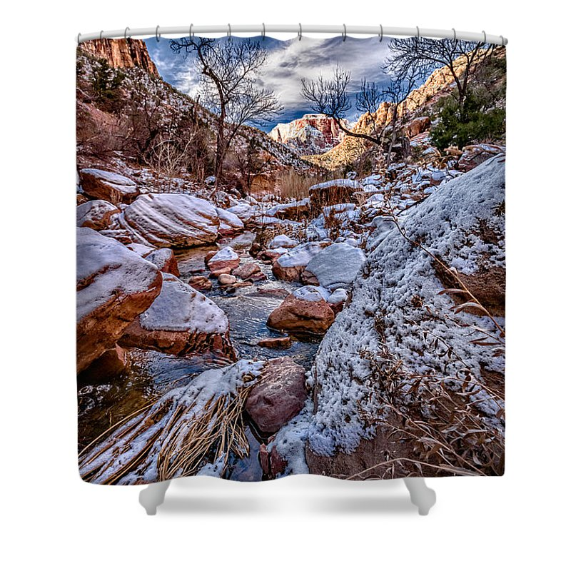 Canyon Shower Curtain featuring the photograph Canyon Stream Winterized by Christopher Holmes