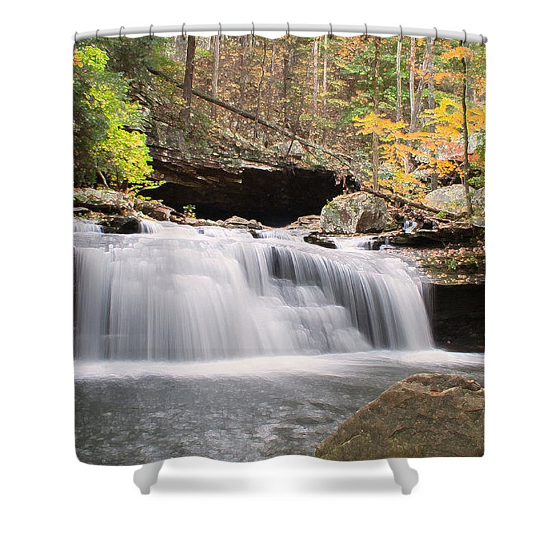 Waterfall Shower Curtain featuring the photograph Canyon Waterfall-artistic by David Troxel