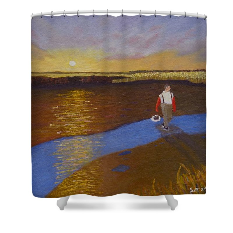 Sunset Shower Curtain featuring the painting Cape Cod Clamming by Scott W White