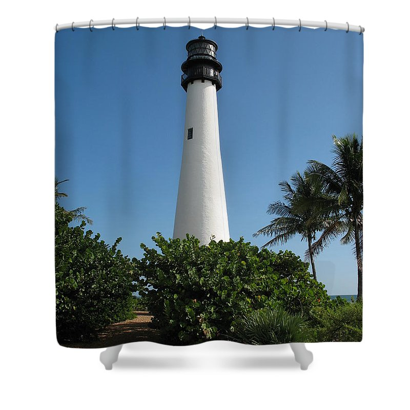 Lighthouse Shower Curtain featuring the photograph Cape Florida Lightstation by Christiane Schulze Art And Photography
