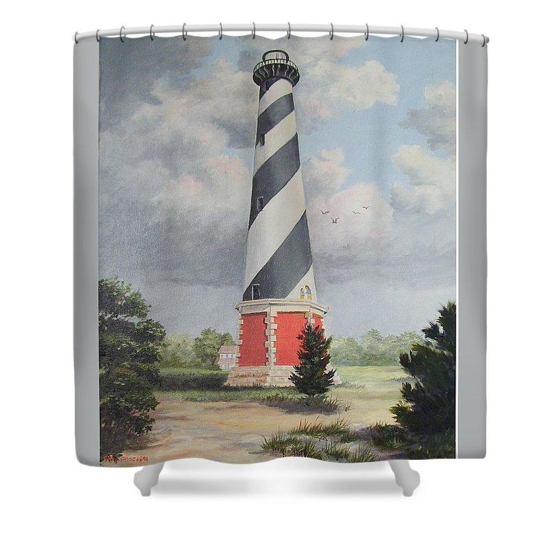 Sunrise Clouds Shower Curtain featuring the painting Cape Hatteris Sunrise by Wanda Dansereau