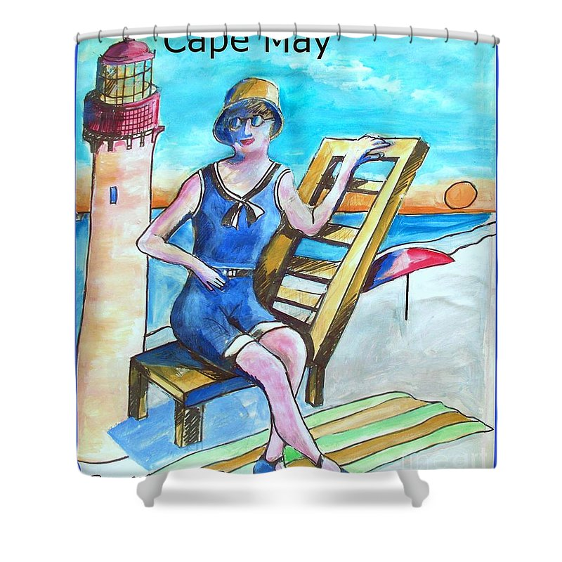 Cape May Shower Curtain featuring the painting Cape May Illustration Poster by Eric Schiabor