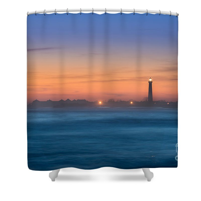 Lighthouse Sunset Shower Curtain Featuring The Photograph Cape May By Michael Ver Sprill