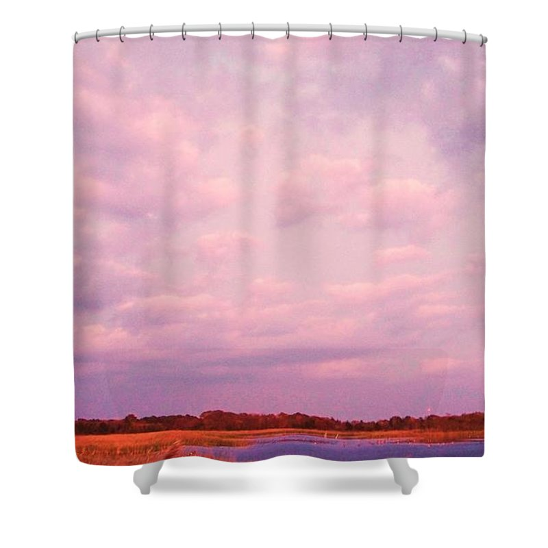 Cape May Shower Curtain featuring the painting Cape May Point by Eric Schiabor