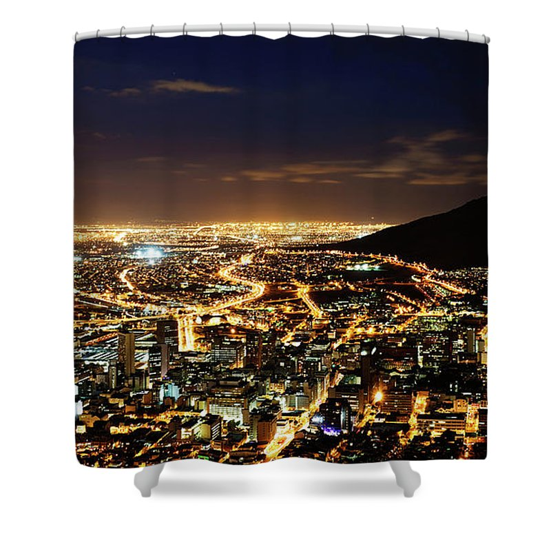 Scenics Shower Curtain featuring the photograph Cape Town, South Africa By Night by Clicknique