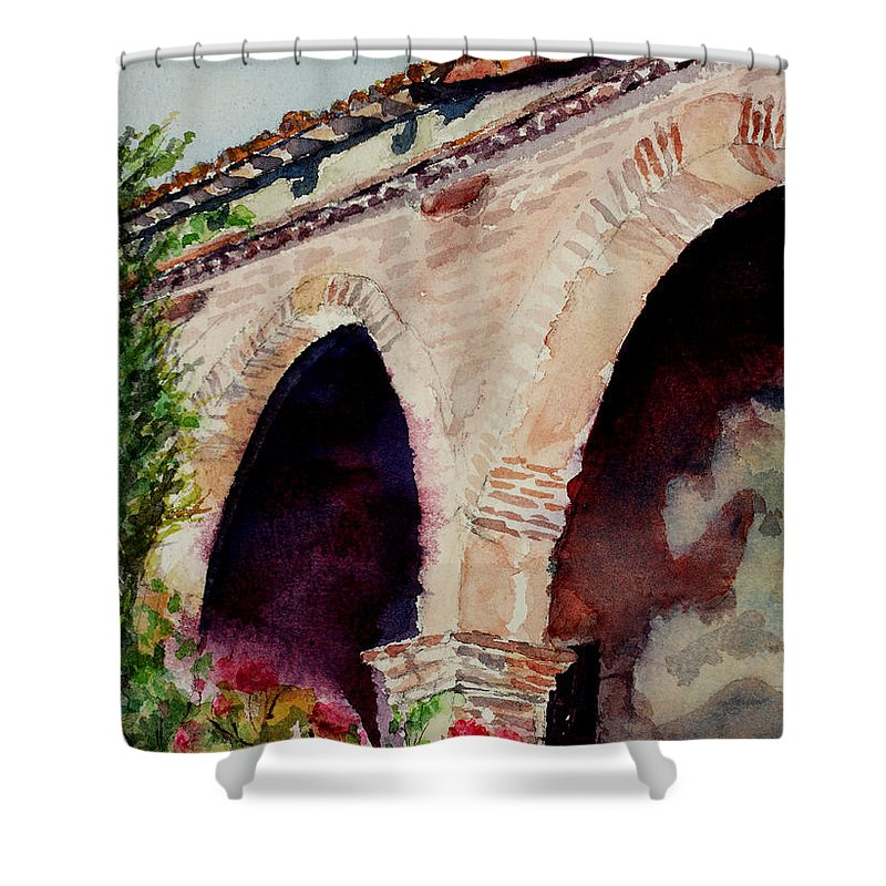 Watercolor Shower Curtain featuring the painting Capistrano Arches by Mary Benke