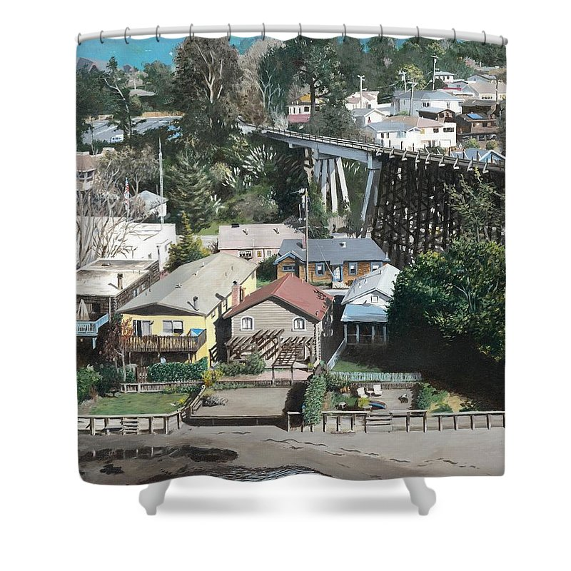 Landscape Shower Curtain featuring the painting Capitola Trestle by James Robertson