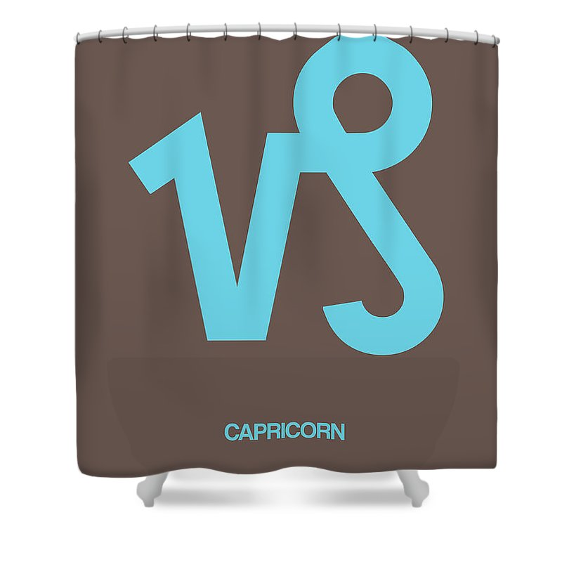 Capricorn Shower Curtain featuring the digital art Capricorn Zodiac Sign Blue by Naxart Studio