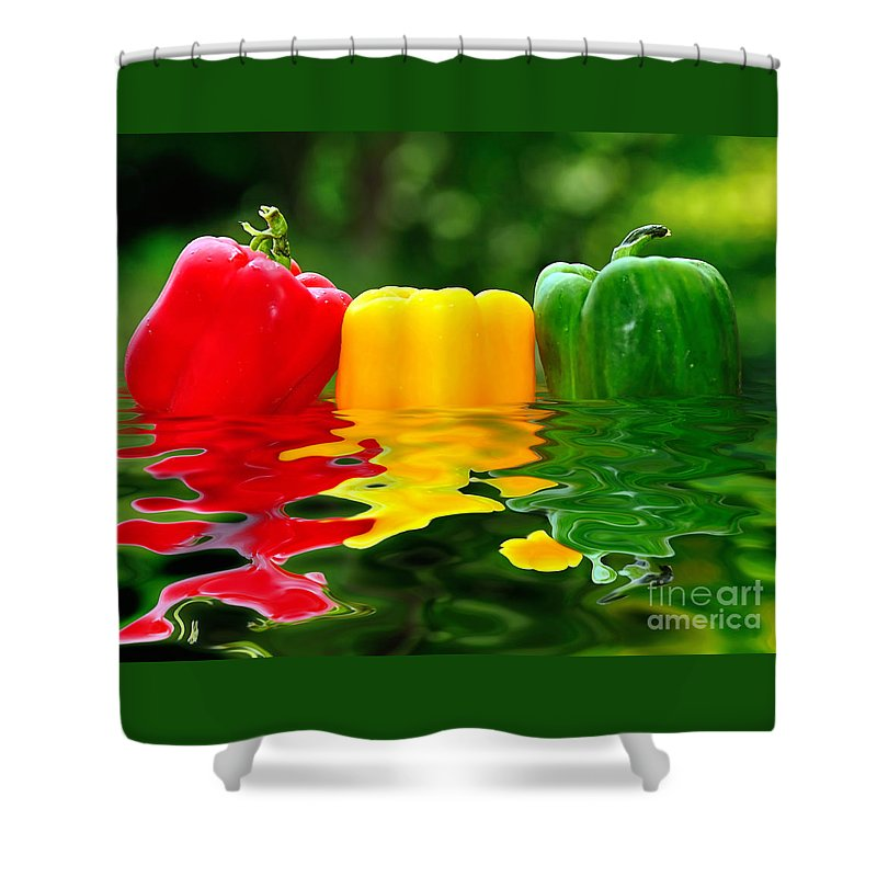 Photography Shower Curtain featuring the photograph Capsicum Afloat by Kaye Menner