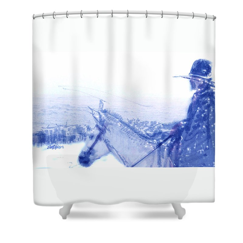 Capt. Call In A Snowstorm Shower Curtain featuring the drawing Capt. Call in a Snow Storm by Seth Weaver