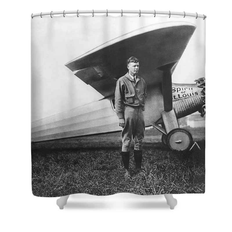 1927 Shower Curtain featuring the photograph Captain Charles Lindbergh by Underwood Archives