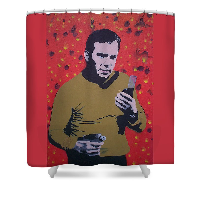 Star Trek Shower Curtain featuring the painting Captain Kirk by Gary Hogben