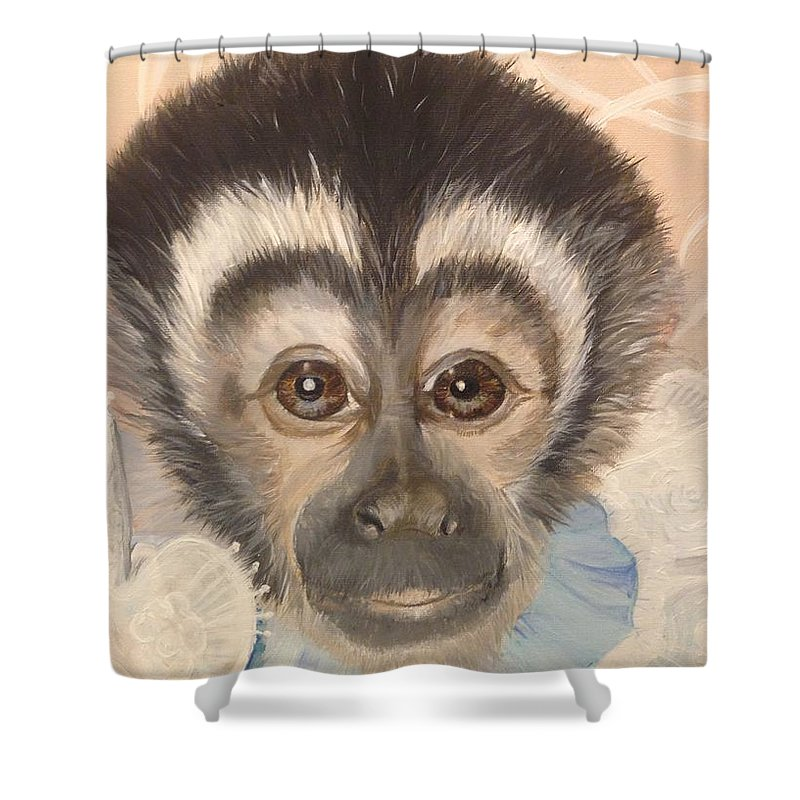 Capuchin Monkey Baby Candilou Shower Curtain