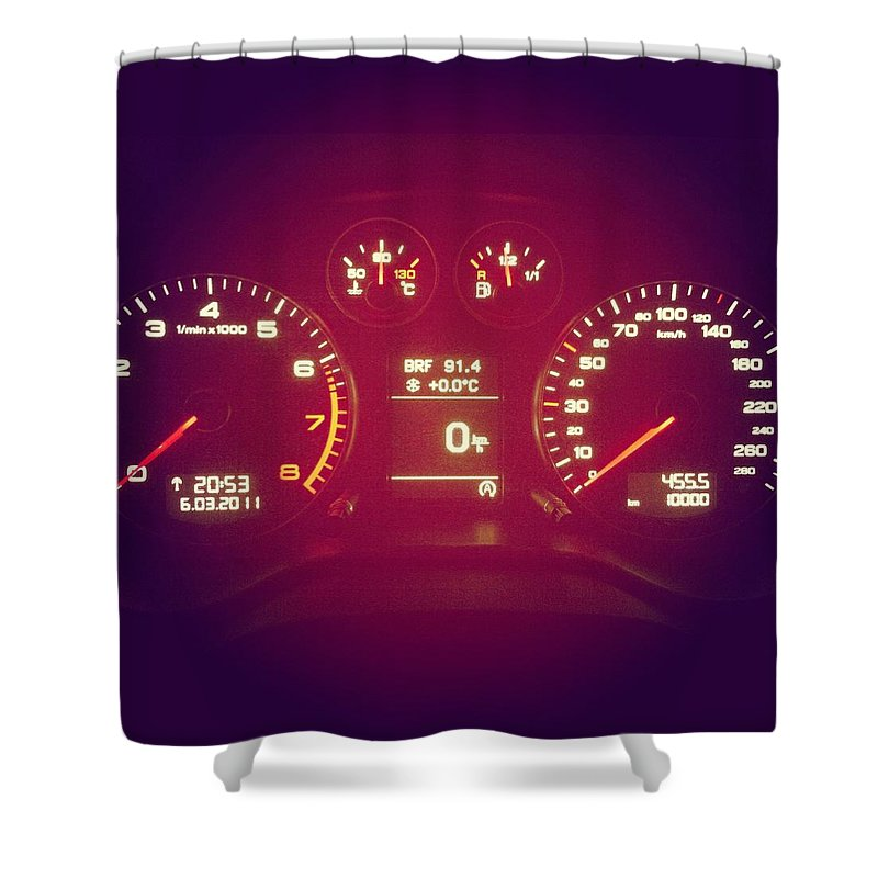 Engine Shower Curtain featuring the photograph Car Cockpit With Exactly 10000km by Alvarez