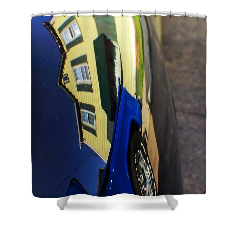 Cars Shower Curtain featuring the photograph Car Reflection 6 by Karl Rose